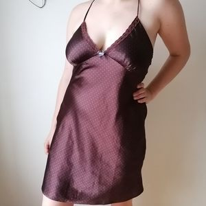 Brown lingerie dress with blue dots